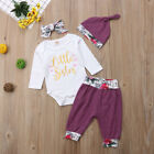 USA Newborn Baby Girl Flower Little Sister Romper Long Pants Hat Headband Outfit