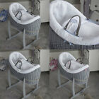 Clair de Lune Over The Moon Grey Noah Pod Wicker Moses Basket