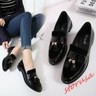 Retro Women Flat Heel Loafers Shoes Tassel Casual Leather Brogue Shoes Size Hot