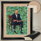 """32W""""x40H"""": BARACK OBAMA SITTING OVER WALL GARDEN - DOUBLE MATTE, GLASS & FRAME"""