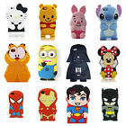 For iPhone 4 5 6 3D Cute Animal Cartoon Soft Silicone Case Cover Back Skin