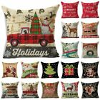 "18"" Christmas Cotton Linen Throw Pillow Case Sofa Waist Cushion Cover Home Decor image"
