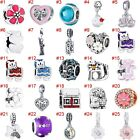 European Silver Xmas Charms Crystal Galss Bead Pendant Fit 925 Sterling Bracelet