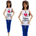 Multiple Styles Fashion Blouses Vest Pants Skirts Dress Clothes For Barbie Doll