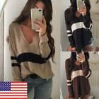 US Stylish Casual Loose Long Sleeve Womens Sweater V-Neck Pullover Knitwear Tops