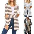 Womens Striped Cardigan Coats Long Sleeve Casual Loose Arm Patch Sweater Coat GB
