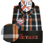 Rare Warrior UK England Button Down Shirt MALICE Slim-Fit Skinhead Mod Retro