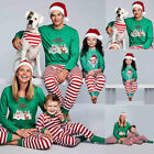 Family Matching Green Stripe Christmas Pajamas PJs Sets Xmas Sleepwear Nightwear
