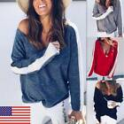 Women Sexy V-neck Long Sleeve Sweater Shirts Blouse Casual Striped Loose Tops US