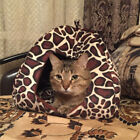 Leopard Pattern Warm Soft Pet Dog Cat Cave House Sleeping Bed Washable Pad Nest