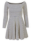 *CLEARANCE* Long Sleeve Off-Shoulder Hound Tooth Pattern Skater Dress