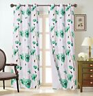 Внешний вид - 1 Pair Floral Flower Design Blackout Window Grommet Curtain Panel Set DIMA #1