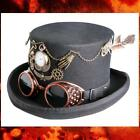 """STEAMPUNK VICTORIAN GOTHIC Wool Felt MAD HATTER TOP HAT with GOGGLE 6"""" Crown New"""