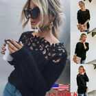 US Women's Loose Knitted Pullover Jumper Sweater O Neck Long Sleeve Knitwear Top