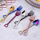 Handle Soup Coffee Kitchen Stainless Steel Ice Cream Spoon Fork Shovel Shape
