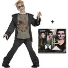 ZOMBIE Kinder Kostüm + MAKE UP SET Horror Halloween Grim Reaper 128-164 NEUHEIT
