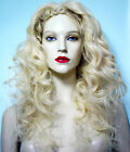 Glueless Silk Top Human Hair Remi Remy Full Lace Wig Blonde Body Wave Wavy Long