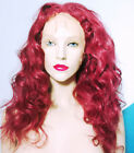 Front Lace Wig Wigs Remi Remy Indian Human Hair Long Body Wave Burgundy Red #200