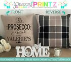 PERSONALISED CUSHION TARTAN PROSECCO O'CLOCK AT CHRISTMAS GIFT FRIEND CANVAS