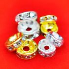 100 × Rhinestone Rondellle Spacer Beads Premium Quality Choose From 6mm and 8mm