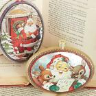 "Внешний вид - NEW Raz 5"" Retro Santa Disc Glass Christmas Tree Ornament 3752852"