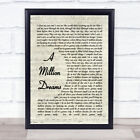 A Million Dreams The Greatest Showman Song Lyric Vintage Script Quote Print