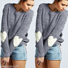 Women Fashion Casual Pullover Sweater Knitted Crew Neck Love Long Sleeve Tops