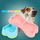 Dog Double Bowls Plastic Bone Shape Puppy Water Food Feeder Bowl for Cat Dog