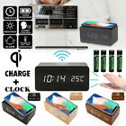 Wooden Wood USB/AAA Digital LED Alarm Clock Thermometer w/ Qi Wireless Charger
