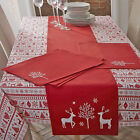 Yuletide Christmas Reindeer Bauble Star Nordic Tree 100% Cotton Tablecloth, Red