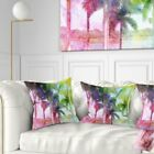 Designart 'Green Retro Palm Trees' Landscape Painting Throw Pillow