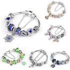 Women's European Charm Bracelet Silver Plated Crystal Charms Cuff Bangle 20CM image