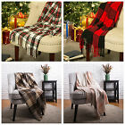 Glitzhome 50''x60'' Hand Woven Plaid Tartan Throw Blanket Multi Color Sofa Cover image