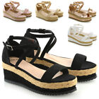 Womens Flat Wedge Espadrille Ankle Strap Ladies Platform Summer Sandals Shoes3-8