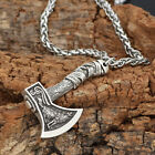 Men's Vintage Silver/Bronze Norse Viking Wolf Axe Amulet Pendant Necklace Gifts image