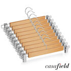 10 Wooden Pants Hangers with Clips - Dress Clothes Trousers Skirt Slacks