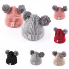 Baby Kid Girl Boy Beanie Winter Warmer Cotton Knitted Double Pom Bobble Hat Cap