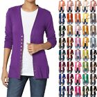TheMogan Women & Plus Classic Snap Button Front V-Neck 3/4 Sleeve Knit Cardigan
