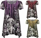 Womens Sequin Floral Print Top Ladies Flared Short Sleeves Swing Capped Top