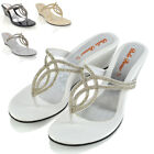 WOMENS WEDGE HEEL T-BAR DIAMANTE SPARKLY LADIES TOE POST SANDALS SHOES SIZE 3-9
