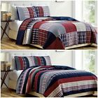 Chezmoi Collection Plaid Patchwork Washed Cotton Reversible Bedspread Quilt Set image