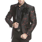 Angelino Noah Men's Two Button Modern Fit Leafy Blazer Sport Coat Black Red