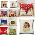 Christmas Throw Waist Pillow Case Cotton Linen Cushion Cover Sofa Car Home Decor image