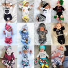 US Christmas Newborn Baby Boy Girl Tops Romper T-shirt Pants Outfit Clothes Set