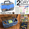 Ready 2 Fish Tackle Box With Fishing Kit Bait Accessories Case Lure Set 136 Pack