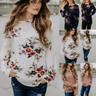 Внешний вид - Fashion Womens Casual Tops Blouse Long Sleeve Crew Neck Floral T-Shirt Ladies