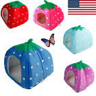 Soft Strawberry Pets Bed House Warm Cushion Basket Dog Cat Doggy Cave Kennel Pad