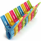 Multi Pack Large Bright Colour Plastic Beach Towel Pegs Clips to Sunbed