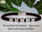 PERSONALISED Mens Bracelet Names Cuff Braided Black - ANY SIZE Gift Dad Man Xmas