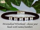 PERSONALISED Mens Bracelet Names Cuff Braided Black - ANY SIZE Gift Dad Man